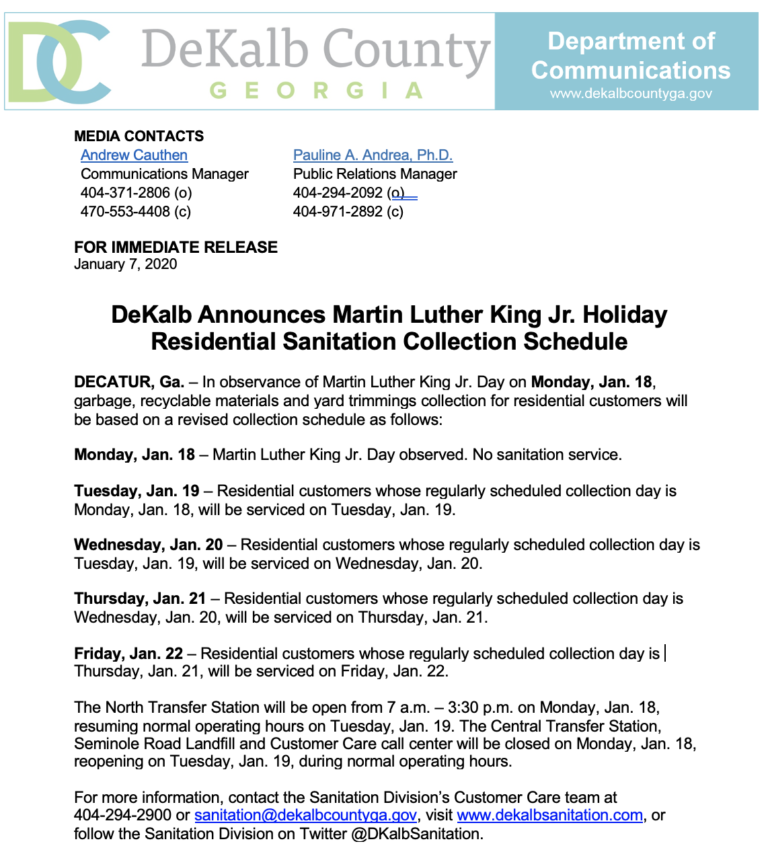 DeKalb Announces Martin Luther King Jr. Holiday Residential Sanitation Collection Schedule